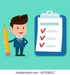 happy smiling businessman with pencil clipboard checklist completed vector modern flat style cartoon [ 1000 x 803 Pixel ]