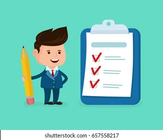 hight resolution of happy smiling businessman with pencil clipboard checklist completed vector modern flat style cartoon