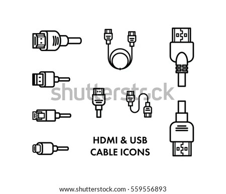 HDMI USB Cable Icons Stock Vector (Royalty Free) 559556893