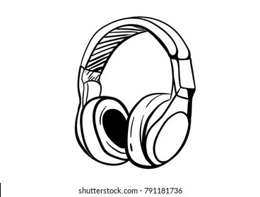 doodle headphone images stock