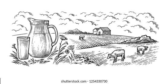 Cow Farm Drawing Stock Illustrations, Images & Vectors