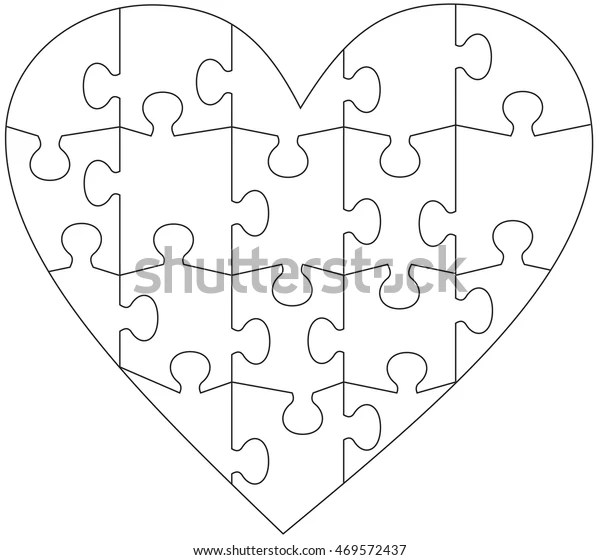 Heart Jigsaw Puzzle Template Stock Vector (Royalty Free