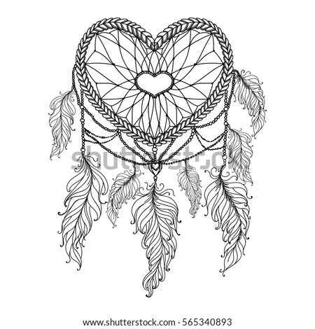Heart Shaped Hand Drawn Dream Catcher Stock Vector