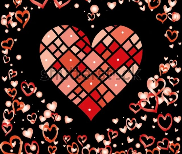 Hearts Shaped Frame Or Border Valentines Day Background With Random Hand Drawn Falling Red Hearts Isolated