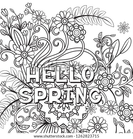 Hello Spring Coloring Page Beautiful Flowers Stock Vector