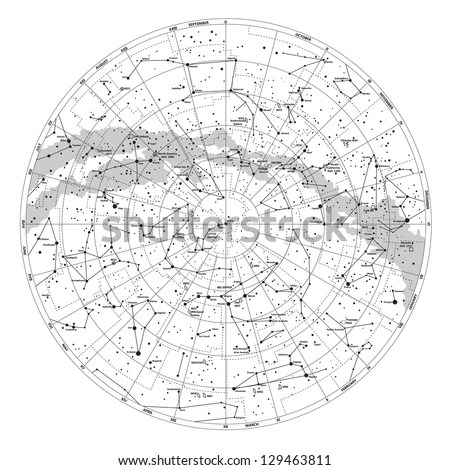 High Detailed Sky Map Northern Hemisphere Stock Vector