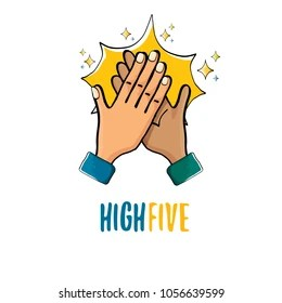high five logo stock