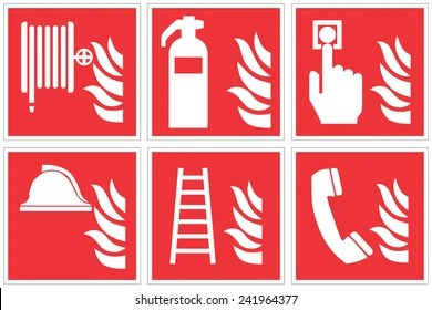 fire safety symbol stock