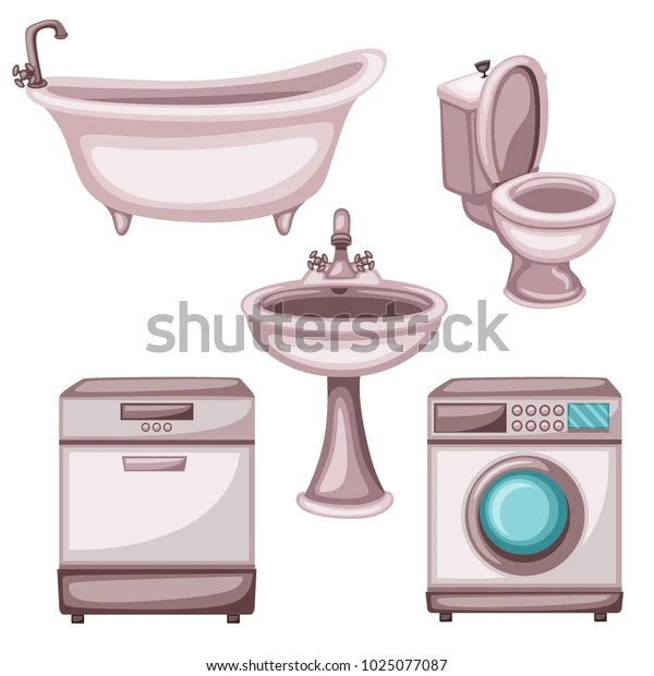 Home Appliances Bathroom Stuff Vector Drawings Stock Vector Royalty Free 1025077087