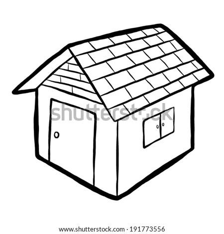 Home House Cartoon Vector Illustration Black Stock Vector