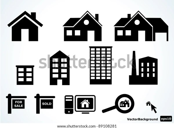 Home Icon Set Stock Vector (Royalty Free) 89108281