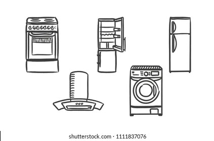 Stove Oven Drawing Images, Stock Photos & Vectors