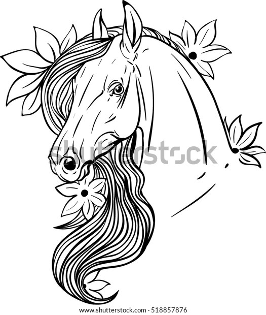Horse Portrait Flower Coloring Page Stock Vector (Royalty