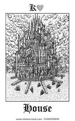 House Castle Tarot Card Vector Lenormand Stock Vector Royalty Free 1468098848