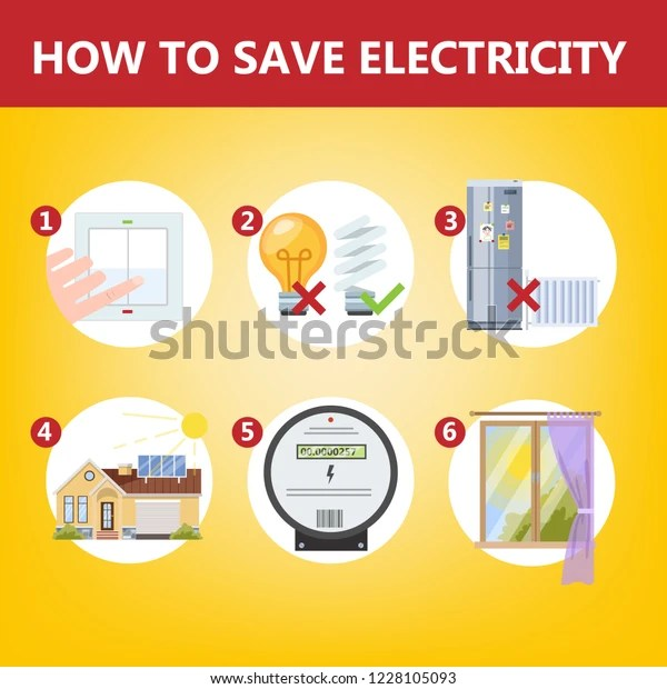 How Save Electricity Instruction Concept Energy Stock Vector Royalty Free 1228105093