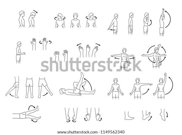 Human Body Movement Icon Set Stock Vector (Royalty Free