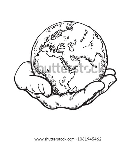 Human Hand Holding Globe Earth Mans Stock Vector (Royalty