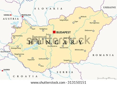 Hungary Political Map Capital Budapest National Stock Vector (Royalty Free) 313150151 - Shutterstock