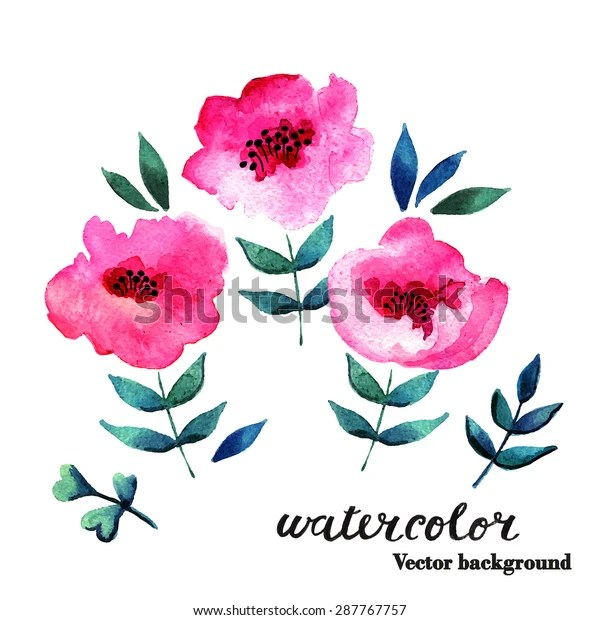 illustration abstract watercolor flowers