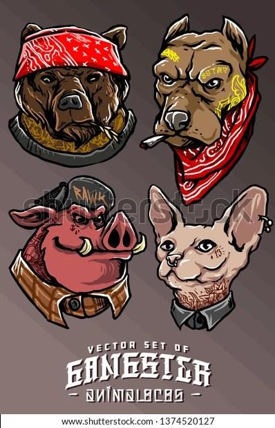 Animal Head Tattoo : animal, tattoo, Illustration, Animal, Tattoo, Gangster, Vector, Stock, (Royalty, Free), 1374520127
