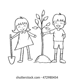 Child Planting Tree Images, Stock Photos & Vectors