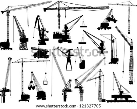 Illustration Building Cranes Isolated On White Stock