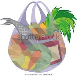 Illustration Cartoon Shopping Bag Full Groceries Stock Vector Royalty Free 212503525