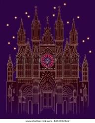 Illustration Fantasy Medieval Gothic Castle Night Stock Vector Royalty Free 1436012462
