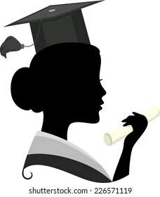 Graduation Silhouette Girl : graduation, silhouette, Graduate, Silhouette, Images,, Stock, Photos, Vectors, Shutterstock