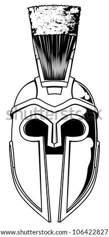 Illustration Front On Spartan Helmet Trojan Stock Vector