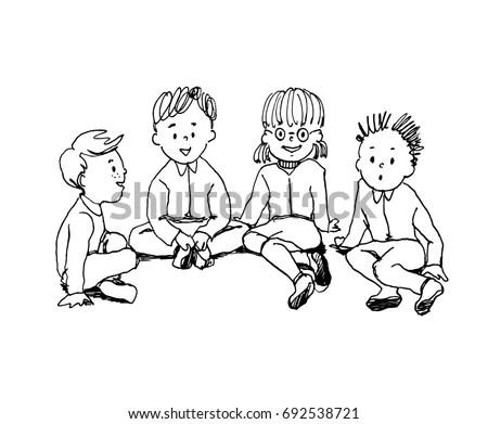 Illustration Kids Sitting On Floor Talking Stock Vector