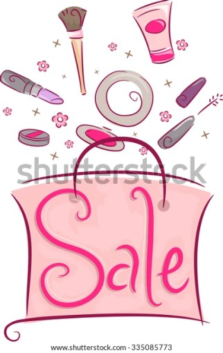 Illustration of a Shopping Bag Filled with Discounted Cosmetic Products