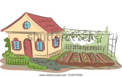 Illustration Small House Garden On Side Stock Vector Royalty Free 252079096