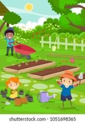 Boy Planting Garden Clipart Images Stock Photos & Vectors Shutterstock