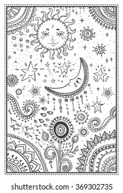 Moon And Stars Coloring Pages : stars, coloring, pages, Stars, Coloring, Pages, Stock, Images, Shutterstock