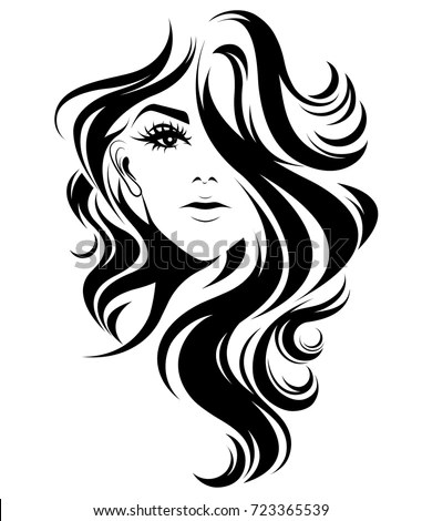 Illustration Women Long Hair Style Icon Vector de stock