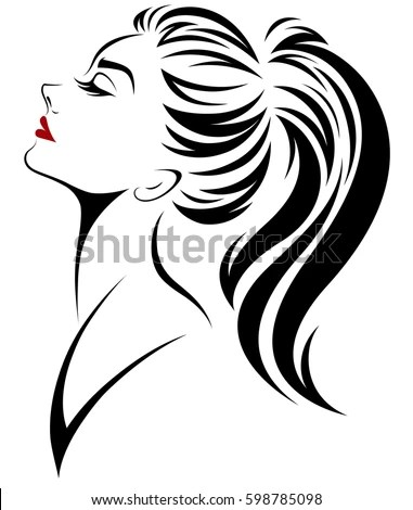Illustration Women Ponytail Hair Style Icon Stock Vector