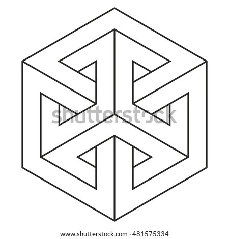 Impossible Cube Isometric Drawing Vector Illustration