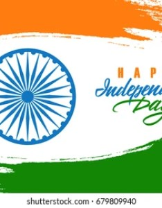 India happy independence day celebration card with indian national flag brush stroke background and hand lettering also images stock photos  vectors shutterstock rh