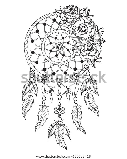 Indian Dream Catcher Zentangle Stylized Cartoon Stock
