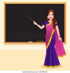 Indian Teacher Wearing Saree Holding Stick Stock Vector Royalty Free 226596610