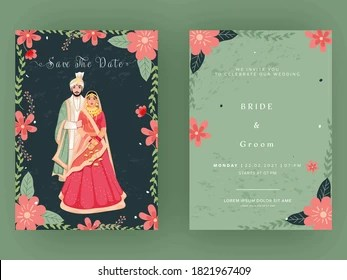 https www shutterstock com image vector indian wedding card template layout couple 1821967409