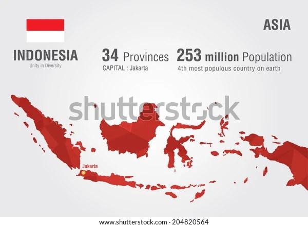 Indonesia World Map Pixel Diamond Texture Stock Vector Royalty Free 204820564
