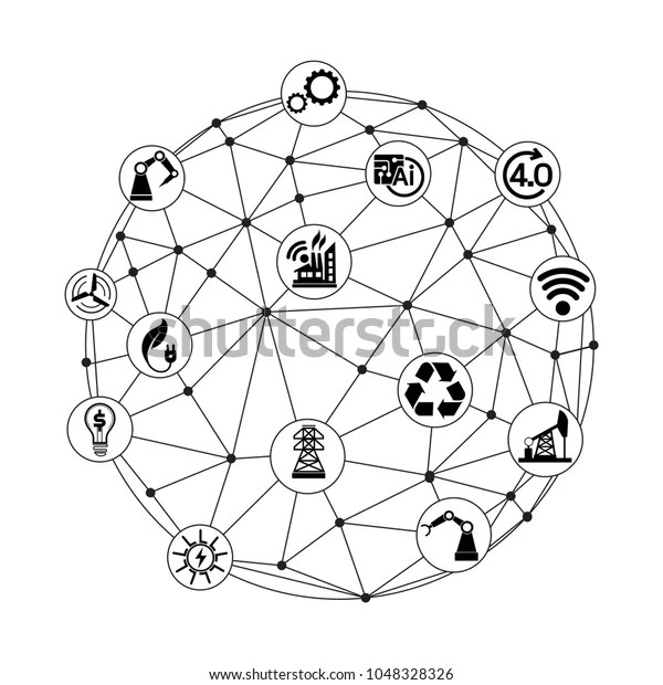 Industry 40 Concept Smart Factory Icon Stock Vector