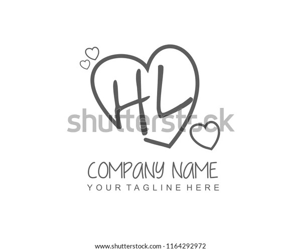 Initial H L Love Logo Template Stock Vector Royalty Free 1164292972