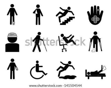 Injury Icons Set Stock Vector (Royalty Free) 141504544