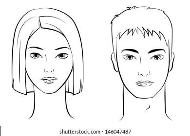 Woman Face Outline Images, Stock Photos & Vectors