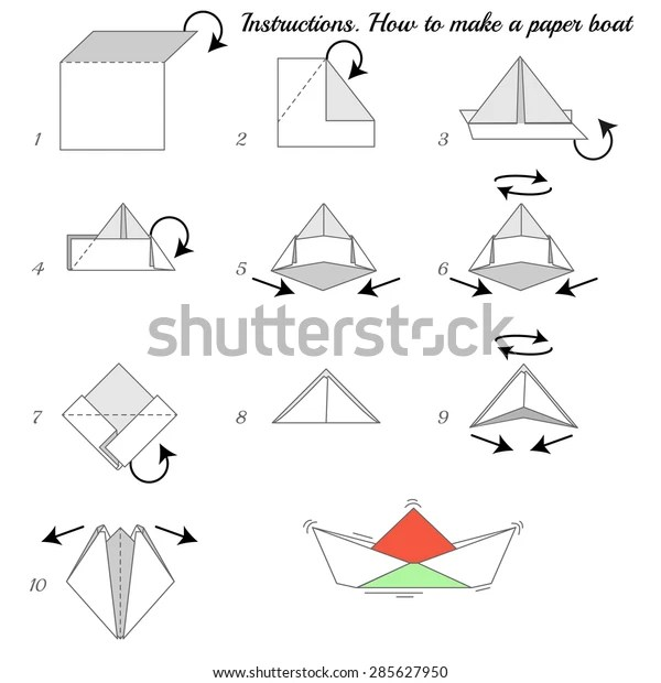 Instructions How Make Paper Ship Paper Stock Vector
