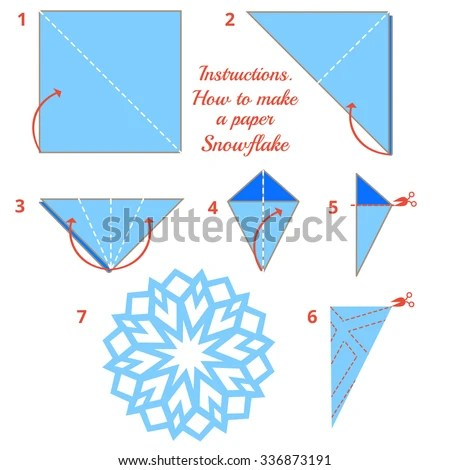 christmas origami diagram adventureworks database instructions how make paper snowflake tutorial stock vector royalty to step by