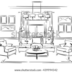 Classic Living Room Chairs Home Furnishing Ideas Interior Design Sofa Stock Vector Royalty Free Of The With Arm And Wall Frames